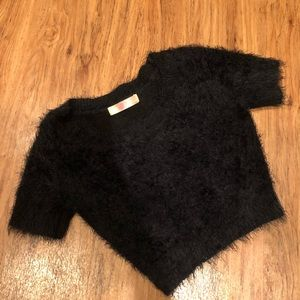 american apparel fuzzy mohair cropped sweater XS